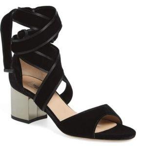 Valentino Velvet Lace Up Ankle Wrap Sandals
